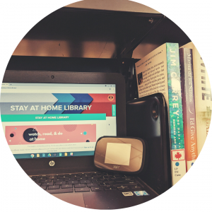 Picture of laptop and books