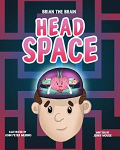 Cover for Head Space, with a cartoon image of a head with a brain inside, operating science fiction controls
